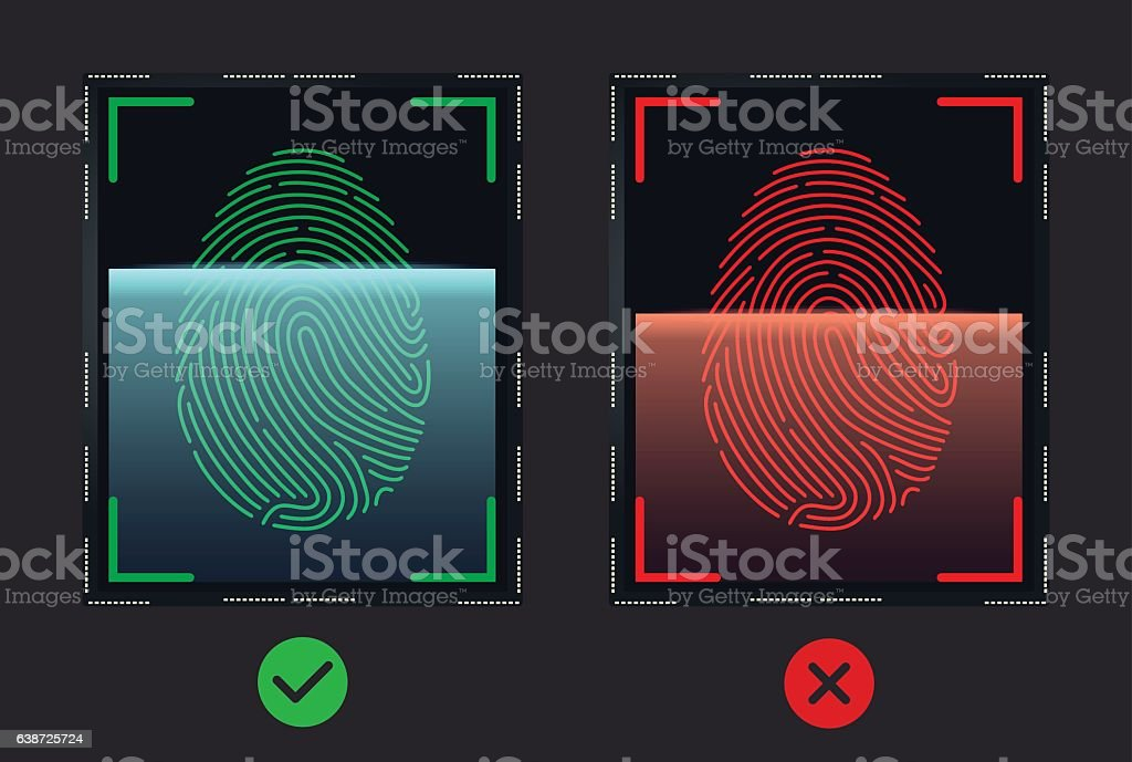 Mobile fingerprint sensor vector art illustration