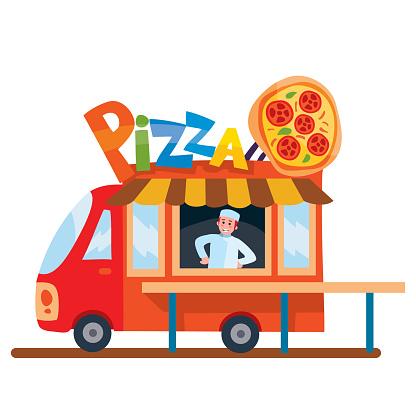 Mobile food truck. Car with Italian food. Vector illustration. Cartoon style.