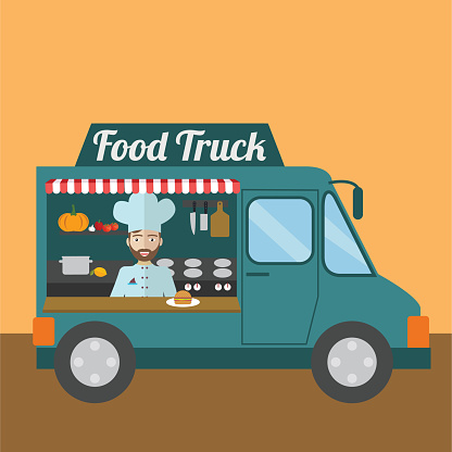 Mobile food truck with cook Vector illustration