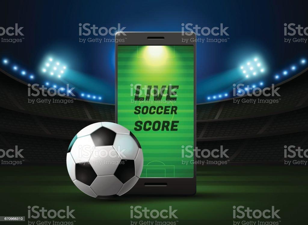 Mobile Fußball live mit Anzeiger und spotlight – Vektorgrafik