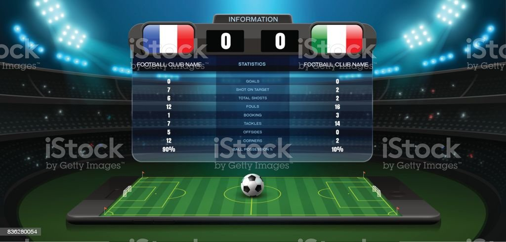 mobile football live with scoreboard and spotlight vector art illustration