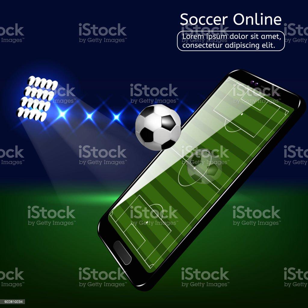 Mobile football soccer. Mobile sport play match. vector art illustration
