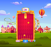Mobile game app background, application vertical interface. Ui or Gui arcade with attraction park or fair, gold coins fall to slots on red field, castle and circus big top, cartoon vector illustration