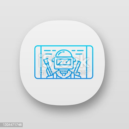 Mobile game app icon. Shooter smartphone game. Telephone screen with game soldier, warrior, player. Cybersport, esport. UI/UX user interface. Web or mobile application. Vector isolated illustration