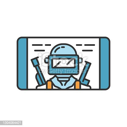 Mobile game color icon. Shooter, battle royale smartphone game. Telephone screen with game soldier, warrior, player. Cybersport, esport app. Isolated vector illustration