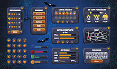 Mobile game graphical user Interface GUI. Design, buttons and icons