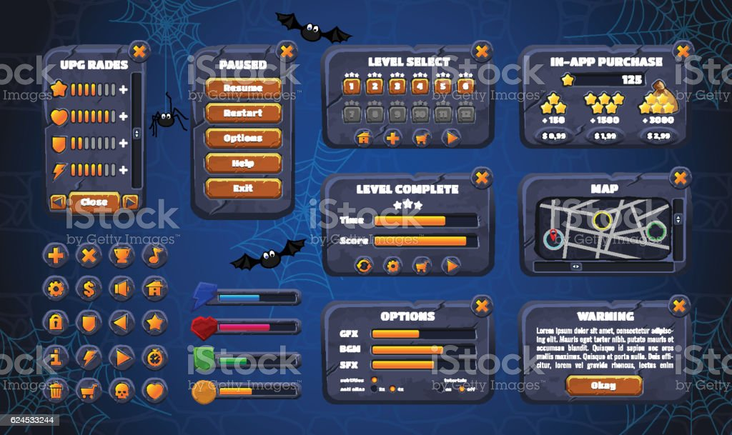 Mobile game graphical user Interface GUI. Design, buttons and icons vector art illustration
