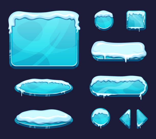 mobile game ui vorlage im cartoon-stil. glänzenden knöpfen und platten mit eis und schnee kappen - gefroren stock-grafiken, -clipart, -cartoons und -symbole