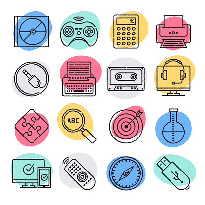 Mobile Gamification Learning System Doodle Style Vector Icon Set