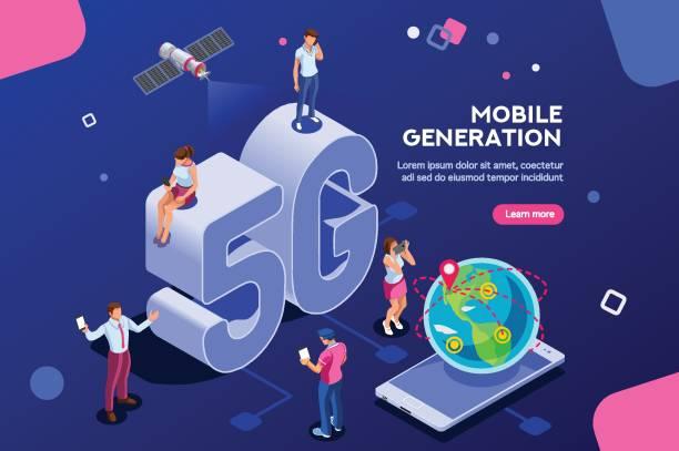 isometrischen banner mobile generation - computergrundlagen stock-grafiken, -clipart, -cartoons und -symbole
