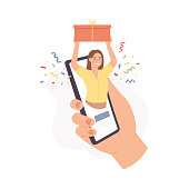 Mobile gift service. Woman holds gift box on phone screen, buy present in digital online store, delivery parcel app, vector concept. Ordering in internet. Girl character receiving present