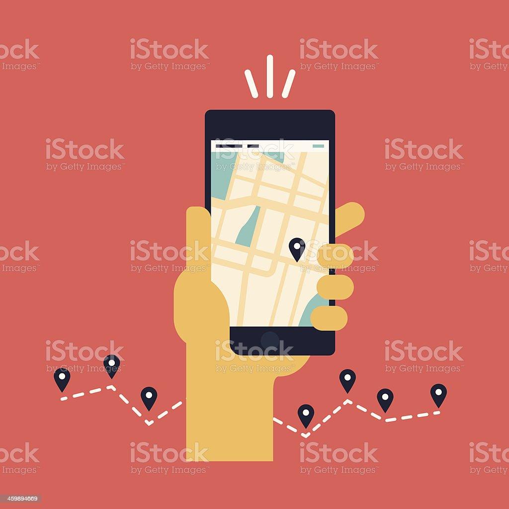 Mobile GPS navigation flat illustration vector art illustration