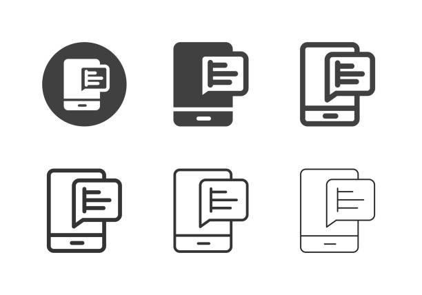 Mobile Graph Icons - Multi Series vector art illustration