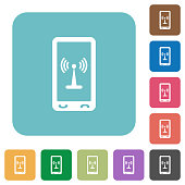 Mobile hotspot rounded square flat icons