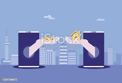 Mobile Phone,Smart Phone, Buying, Coin,Currency, ,E-commerce, House,Building Exterior,