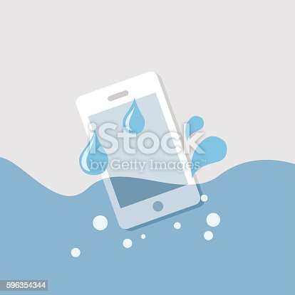 Mobile In The Water Stock Vector Art & More Images of Damaged 596354344
