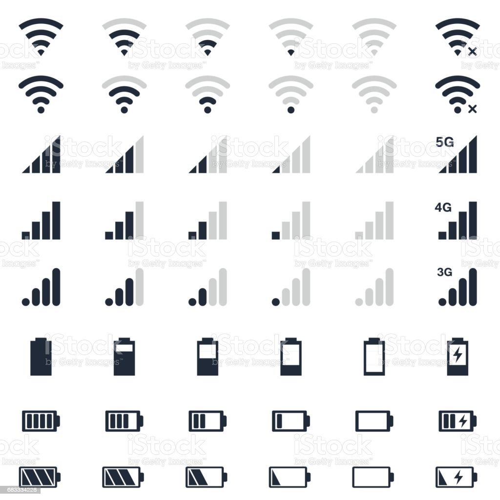 mobile interace icons, battery charge, wi-fi signal, mobile signal level icons set vector art illustration
