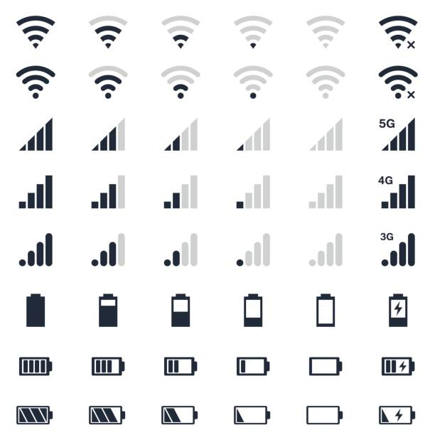 illustrazioni stock, clip art, cartoni animati e icone di tendenza di mobile interace icons, battery charge, wi-fi signal, mobile signal level icons set - pieno