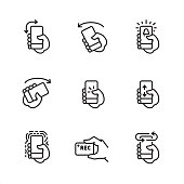 Mobile interaction related outline vector icon set.  9 Outline style black and white icons / Set #20  CONTENT BY ROWS  First row of outline icons contains:  Turn Portrait to Landscape Screen Orientation, Turn phone Left, Phone alarm icon.  Second row contains:  Turn phone Right, Tap on screen icon, Swipe up and down on screen.  Third row contains:  Vibrating alert, Recording video by the phone, Turn phone to other side.   Pixel Perfect Principle - all the icons are designed in 64x64 px grid, outline stroke 2 px.  Complete Outline 3x3 PRO collection - https://www.istockphoto.com/collaboration/boards/hyo8kGplAEWxASfzDWET0Q