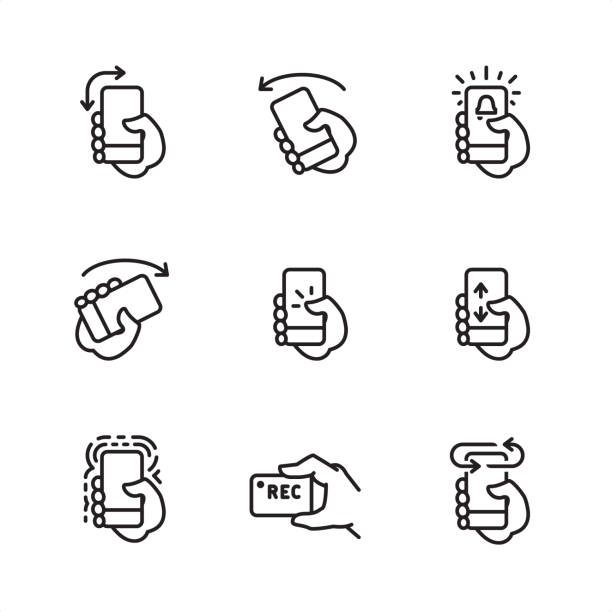 Mobile interaction - Pixel Perfect outline icons Mobile interaction related outline vector icon set.  9 Outline style black and white icons / Set #20  CONTENT BY ROWS  First row of outline icons contains:  Turn Portrait to Landscape Screen Orientation, Turn phone Left, Phone alarm icon.  Second row contains:  Turn phone Right, Tap on screen icon, Swipe up and down on screen.  Third row contains:  Vibrating alert, Recording video by the phone, Turn phone to other side.   Pixel Perfect Principle - all the icons are designed in 64x64 px grid, outline stroke 2 px.  Complete Outline 3x3 PRO collection - https://www.istockphoto.com/collaboration/boards/hyo8kGplAEWxASfzDWET0Q shaking stock illustrations
