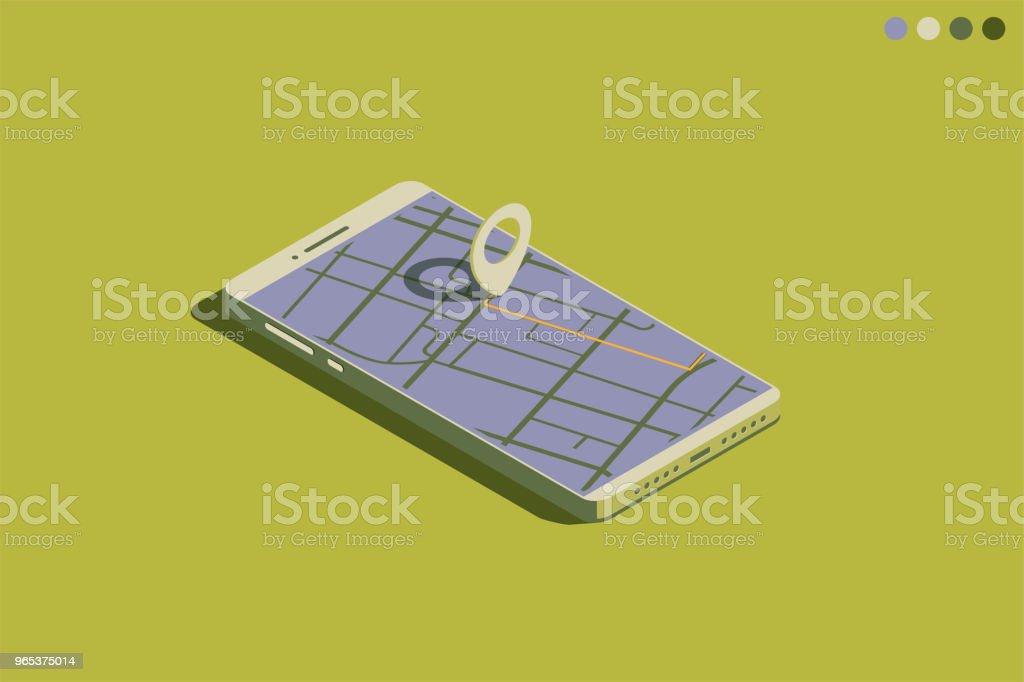 Isométrique GSM avec GPS - clipart vectoriel de Affaires internationales libre de droits