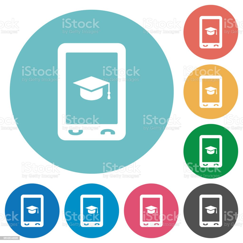 Mobile learning flat round icons royalty-free mobile learning flat round icons stock vector art & more images of cap