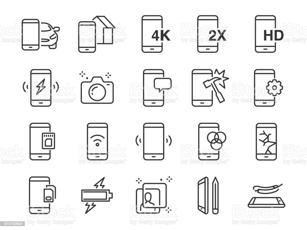 Mobile line icon set. Included the icons as smartphone, memory, battery, filter, screen, power, charger and more. vector art illustration