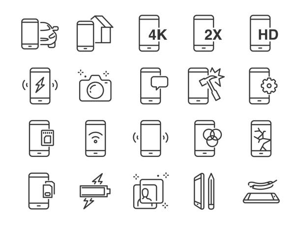 Mobile line icon set. Included the icons as smartphone, memory, battery, filter, screen, power, charger and more. Mobile line icon set. Included the icons as smartphone, memory, battery, filter, screen, power, charger and more. damaged stock illustrations