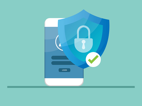 mobile locked with shield guard, cyber security concept vector illustration