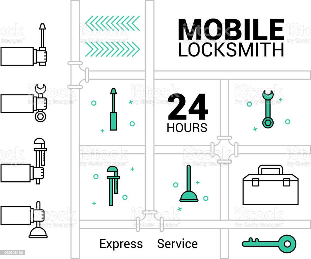Mobile locksmith icon. Logo in vector. In the lines. royalty-free mobile locksmith icon logo in vector in the lines stock vector art & more images of business
