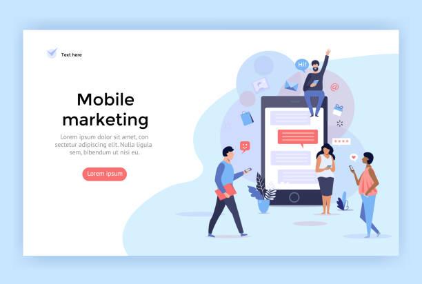 mobile marketing concept illustration. - retail worker stock illustrations