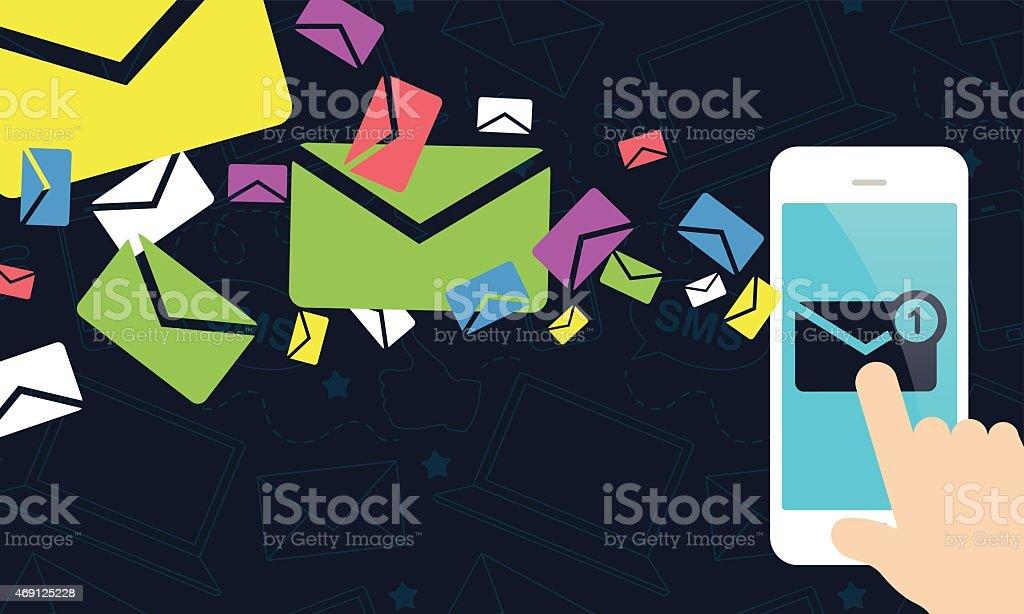 Mobile Marketing - Smart Phone Receiving Emails vector art illustration