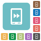 Mobile media fast forward rounded square flat icons