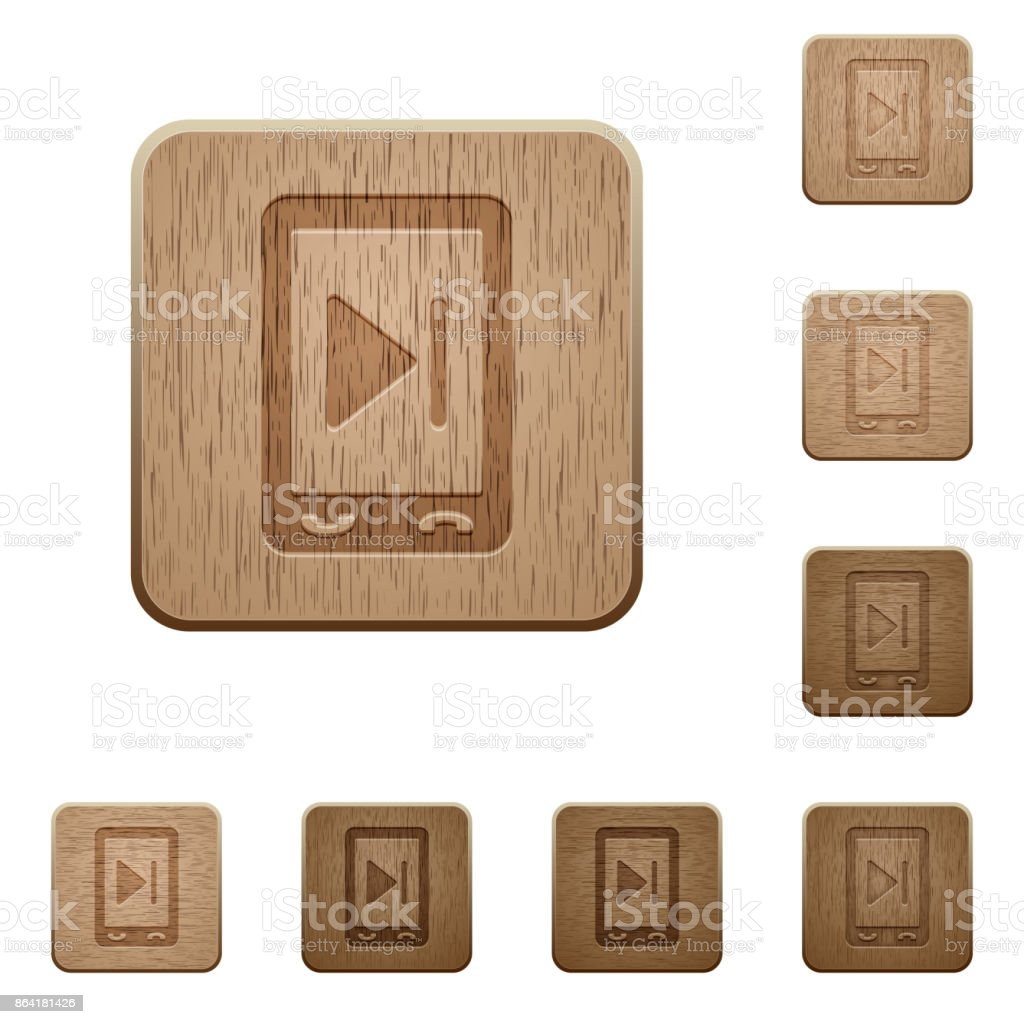 Mobile media next wooden buttons royalty-free mobile media next wooden buttons stock vector art & more images of answering