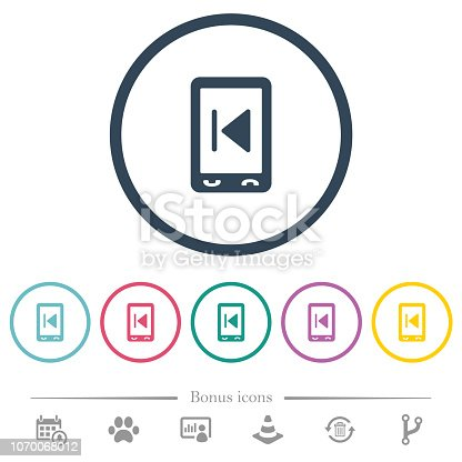 istock Mobile media previous flat color icons in round outlines 1070068012