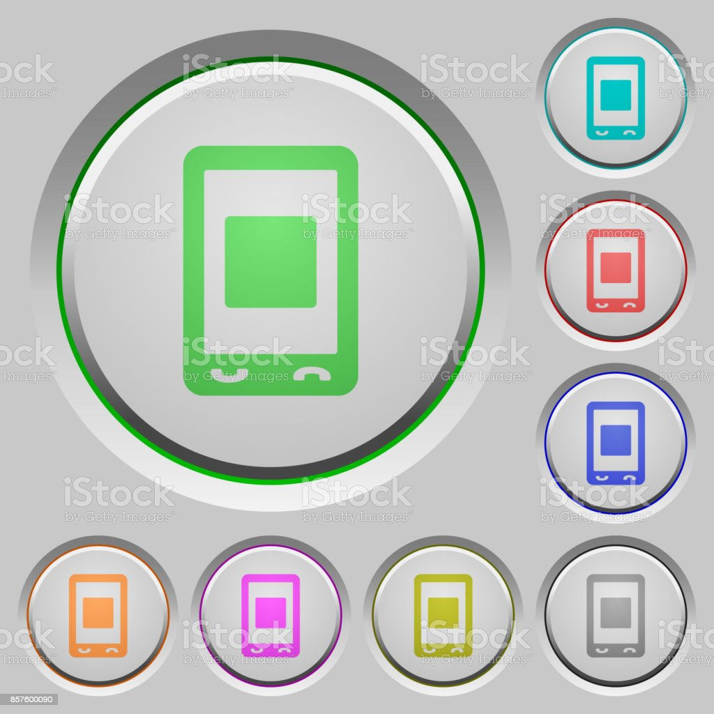 Mobile media stop push buttons vector art illustration