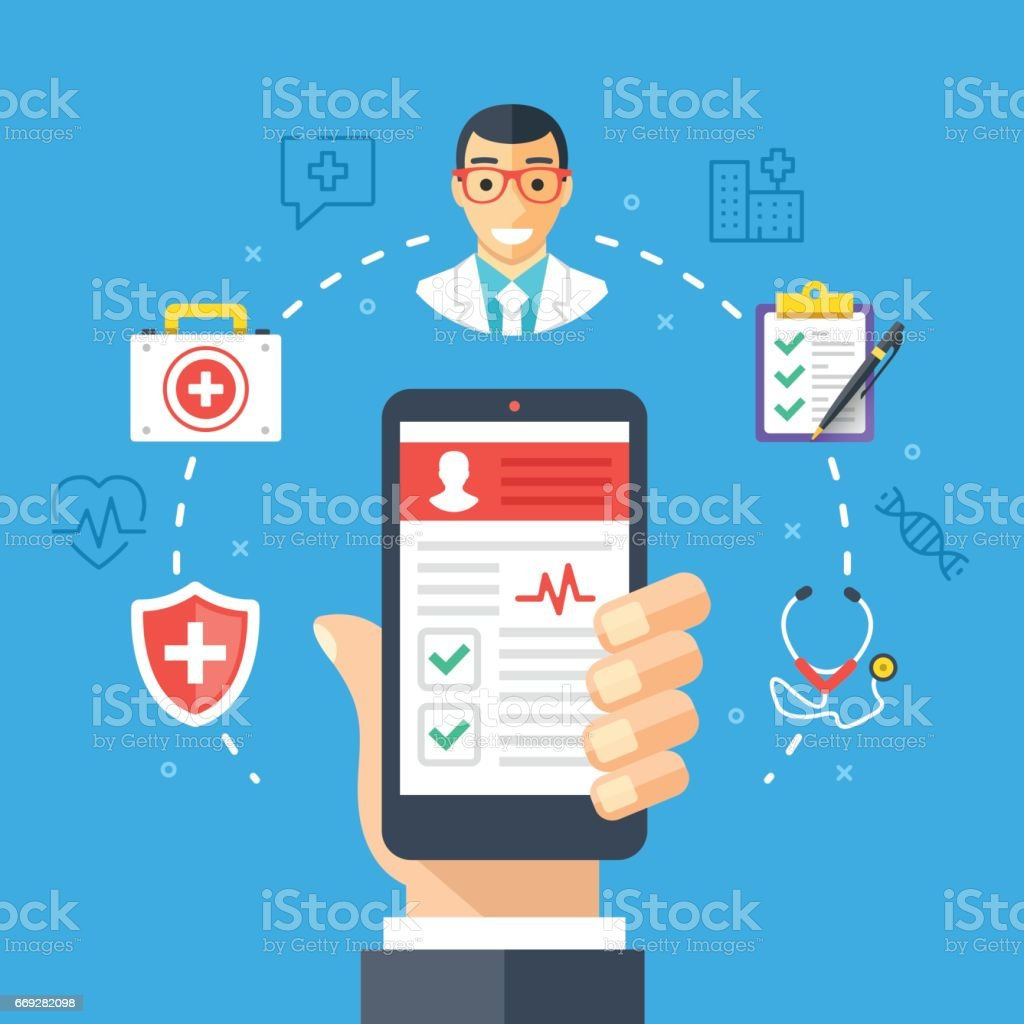 Mobile medicine, mhealth, online doctor. Hand holding smartphone with medical app. Modern flat design graphic concept, thin line icons set. Vector illustration vector art illustration