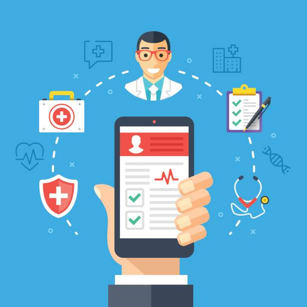 mobile medicine, mhealth, online doctor. hand holding smartphone with medical app. modern flat design graphic concept, thin line icons set. vector illustration - telemedicine stock illustrations