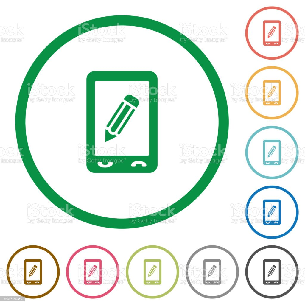 Mobile memo flat icons with outlines vector art illustration