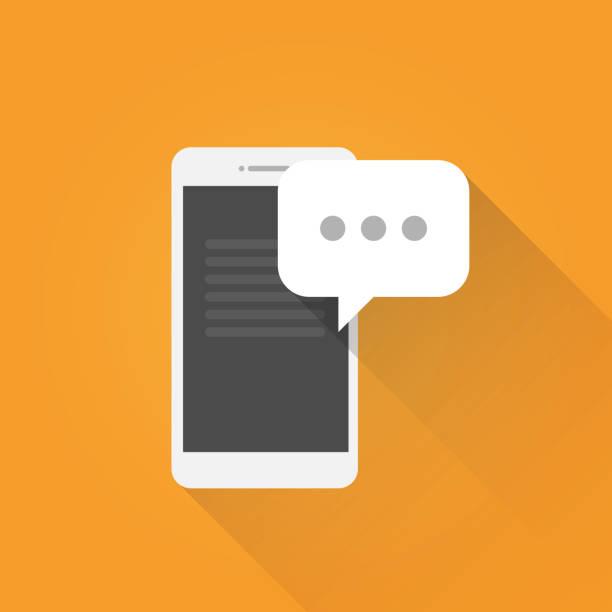 mobile flat nachrichtensymbol - sms stock-grafiken, -clipart, -cartoons und -symbole
