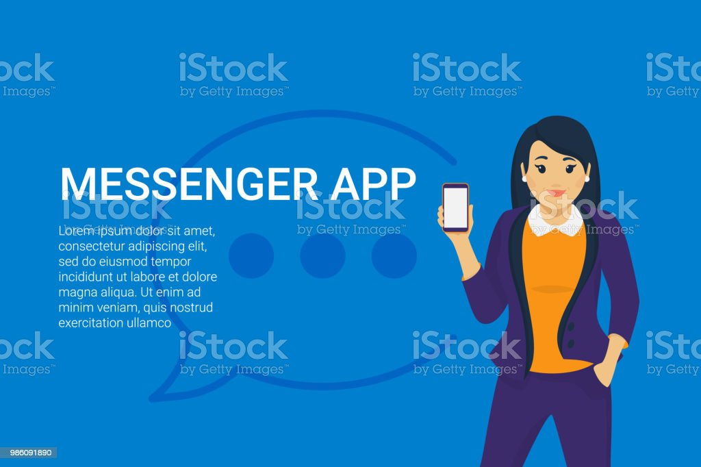 Mobile messenger app for texting messages to colleagues. vector art illustration