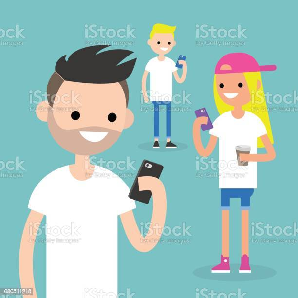 Mobile messenger concept social media a group of young people with vector id680511218?b=1&k=6&m=680511218&s=612x612&h=tuoevlarjnawesl9omgvcwfgvihyoiddtnpgmp3fr9c=