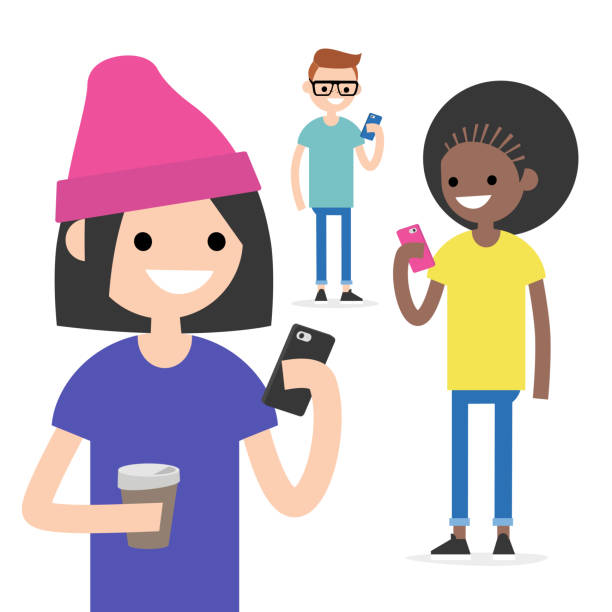Mobile messenger concept. Social media. A group of young people with smartphones / flat editable vector illustration, clip art Mobile messenger concept. Social media. A group of young people with smartphones / flat editable vector illustration, clip art millennial generation stock illustrations
