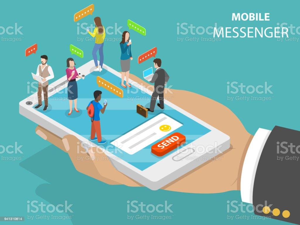 Mobile messenger flat isometric vector concept. vector art illustration