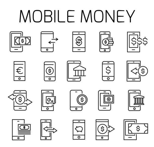 Mobile money related vector icon set Mobile money related vector icon set. Well-crafted sign in thin line style with editable stroke. Vector symbols isolated on a white background. Simple pictograms. wide receiver athlete stock illustrations