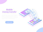 Mobile money transfer isometric vector illustration. Two smartphones and bundle of the banknotes flying from one smartphone to the other.