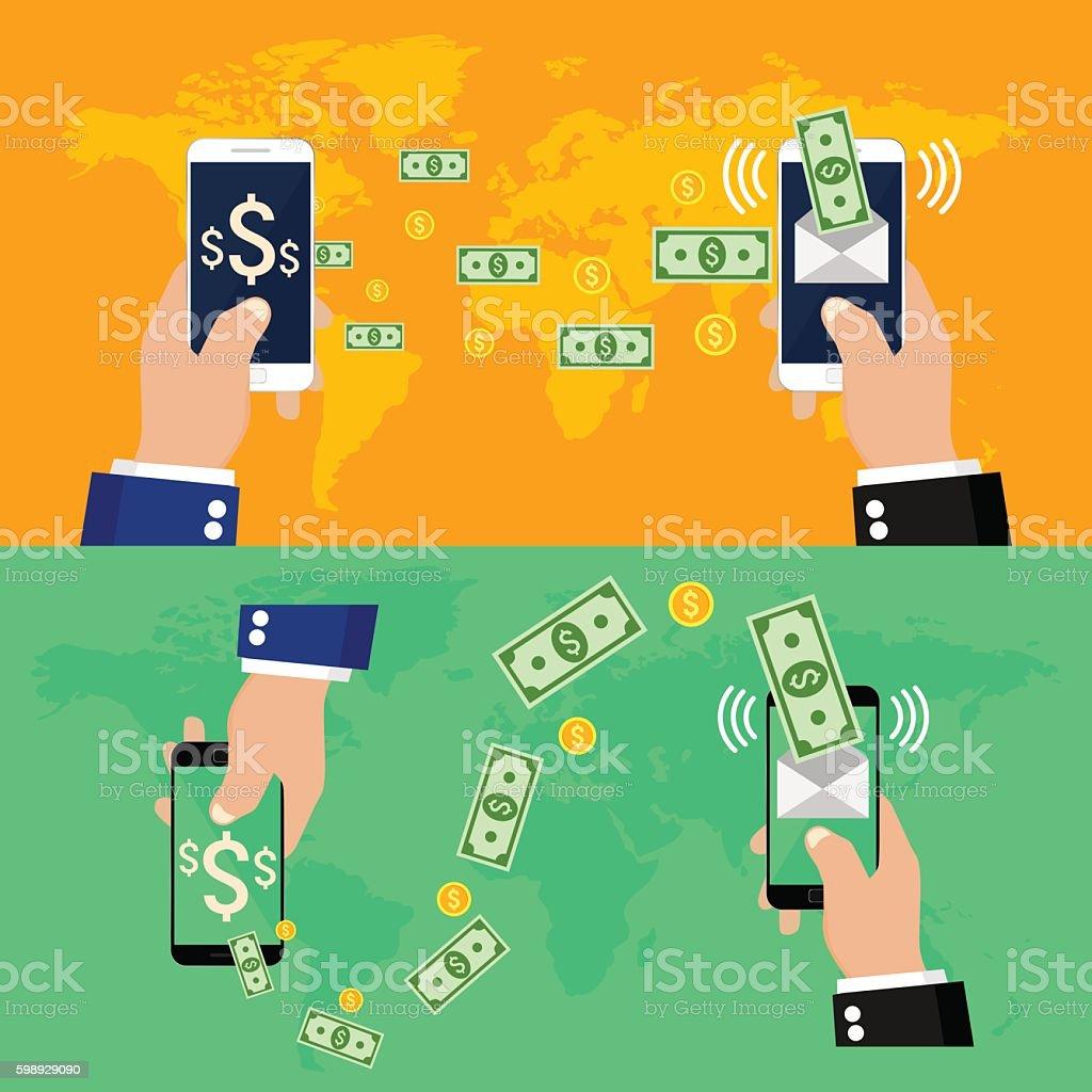 Mobile money transfer vector art illustration