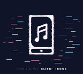 Glitch effect vector icon illustration of mobile music app with abstract background.