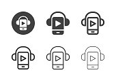 Mobile Music Player Icons Multi Series Vector EPS File.