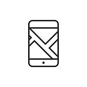 Mobile Navigation App Outline Icon with Editable Stroke.